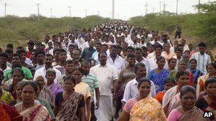 In this Aug. 17, 2011 photo, villagers participate in a protest against the Koodankulam nuclear power plant in Koodankulam region, in the southern Indian state of Tamil Nadu.