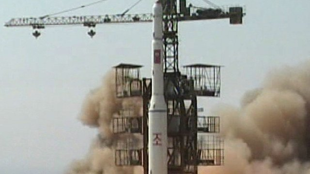 Rocket is lifted off from its launch pad in Musudan-ri, North Korea in 2009