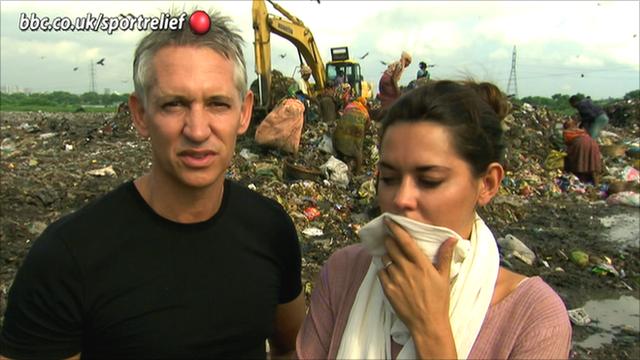 Gary Lineker and his wife Danielle at a Bangladesh rubbish dump