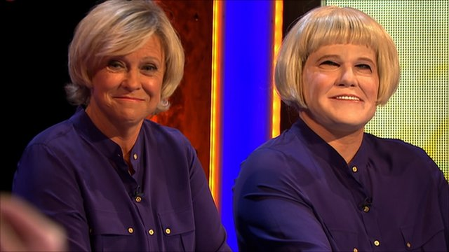 Sue Barker and her mystery impersonator
