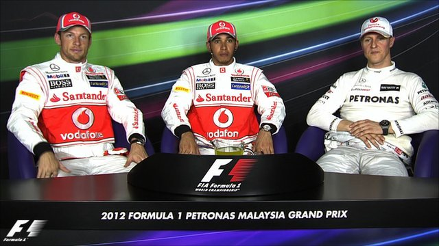 Jenson Button, Lewis Hamilton and Michael Schumacher