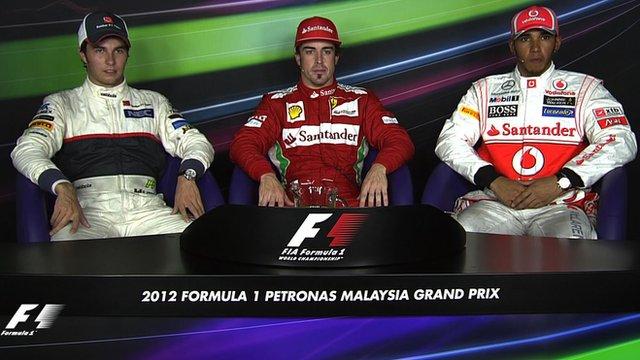 Sergio Perez, Fernando Alonso and Lewis Hamilton