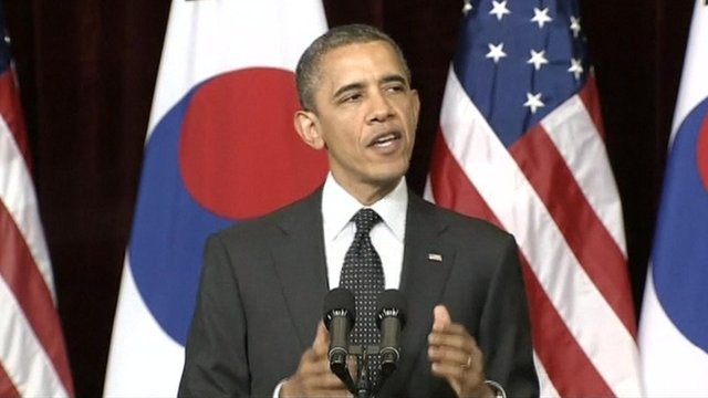 Obama speaks at summit in Seoul aimed at reducing the risk of nuclear terrorism.
