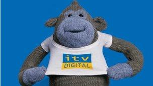 ITV Digital mascot monkey in ITV T-shirt