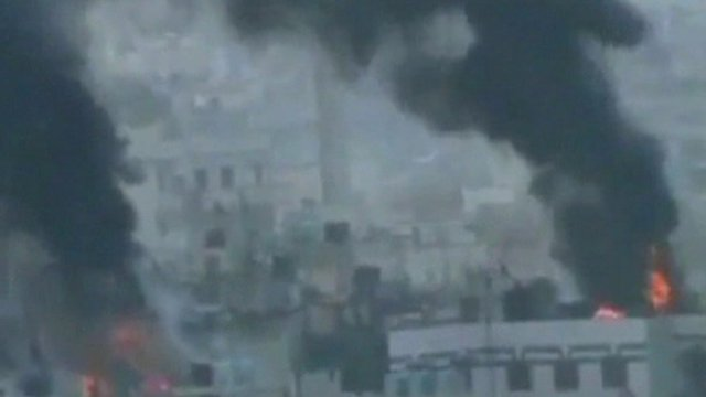 Buildings on fire in Syria