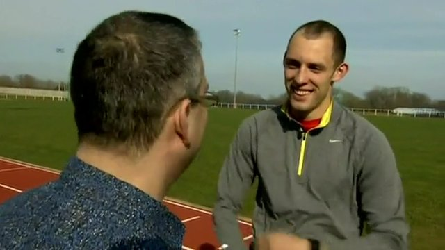 Dai Greene meets Londoner Matt de Monte, a fan who contacted him to help the athlete get more 2012 tickets