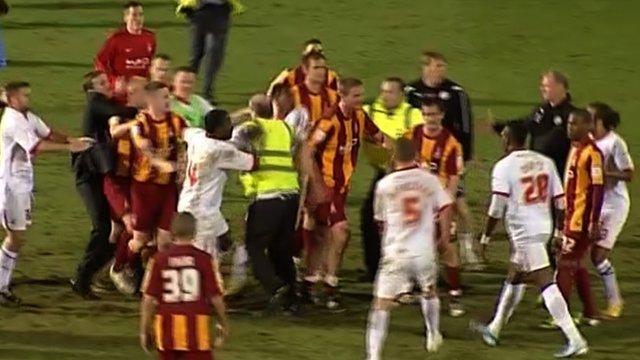Bradford and Crawley players post-match brawl