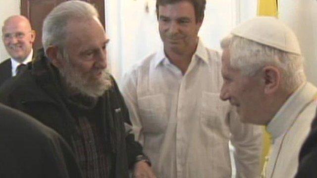Fidel Castro meets Pope Benedict