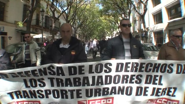 Demonstrators in Jerez, Spain