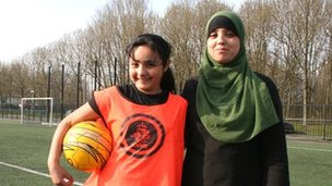 Girls from the mainly Muslim women's football team VV Hoograven