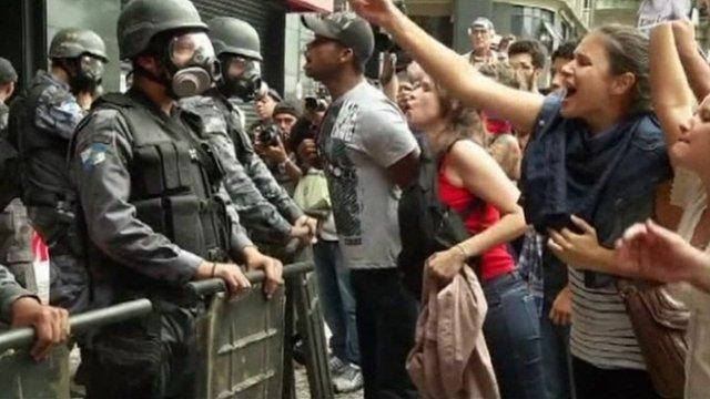 Protesters in Brazil