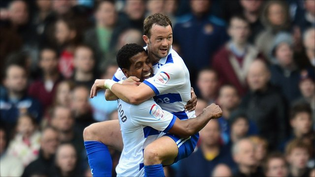 Mikele Leigertwood and Noel Hunt of Reading celebrate