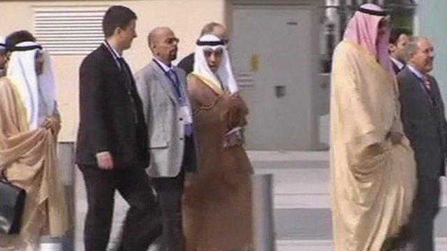 Delegates arrive for the conference