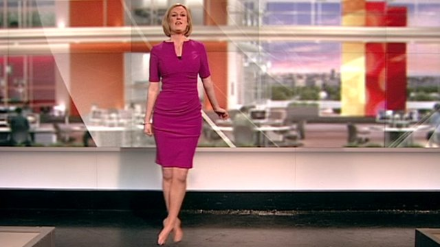 Steph McGovern kicks off her shoes to dance in the studio