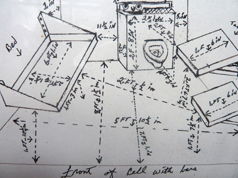 Herman Wallace's sketch of the dimensions of his prison cell