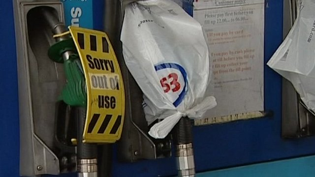 No fuel sign on petrol station forecourt