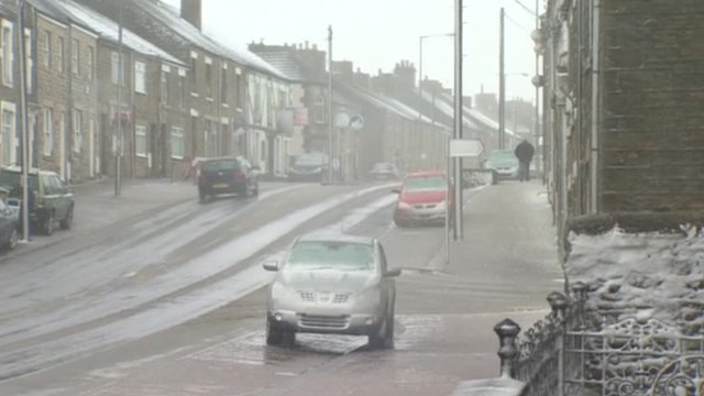 A snowy street in the north of England