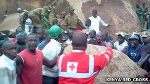 The rescue effort in Mathare where boulders had crashed into houses - as photographed by the Kenya Red Cross
