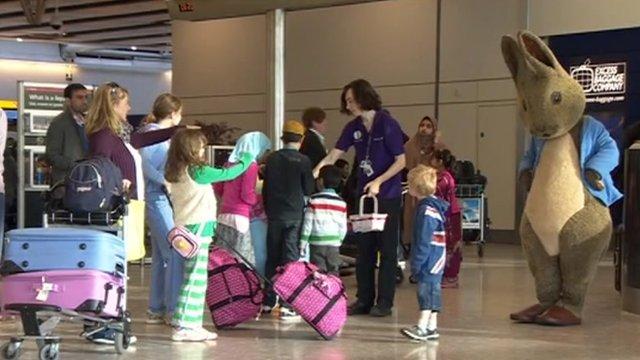 Peter Rabbit entertains children at Heathrow airport