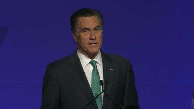 Mitt Romney delivers a speech to media 3 April 2012