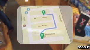 Google glasses shows map of shop