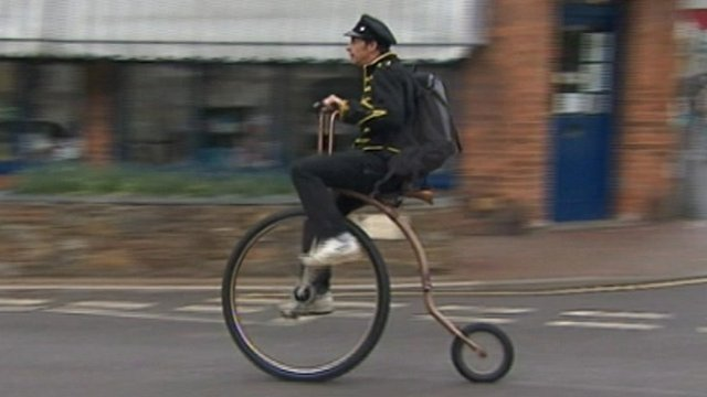 Graham Eccles riding his penny-farthing