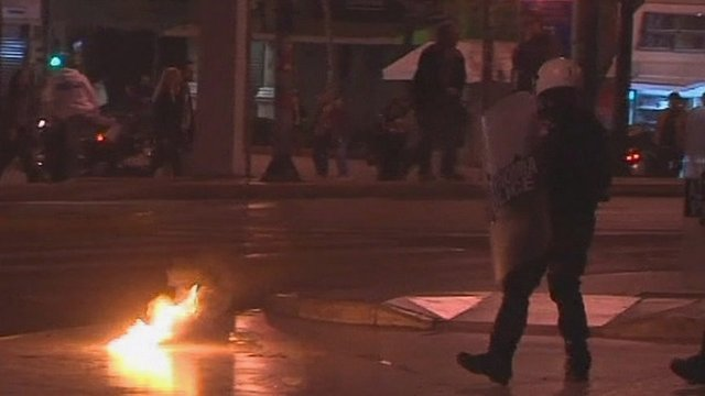 Protesters clashed with riot police