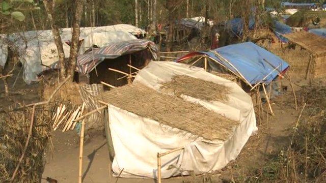 Temporary housing in a Kachin camp