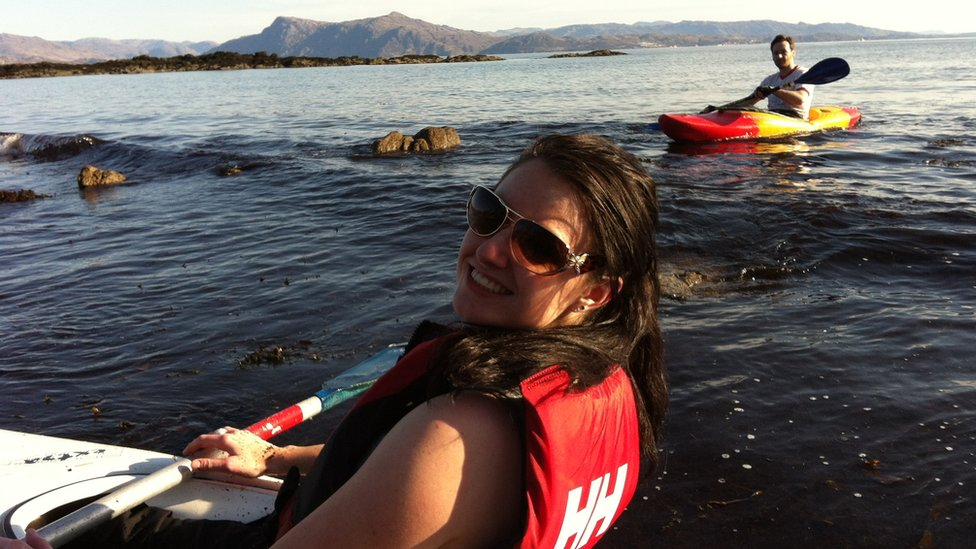 Mairi and Aonghas kayaking in the Sound of Sleat