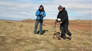 Archaeologists carry out a geophysical survey of Skomer Island