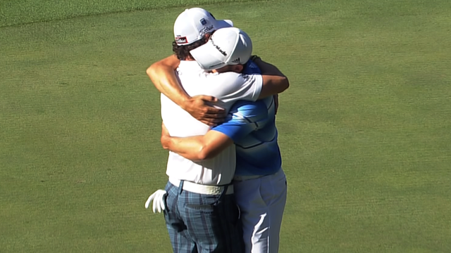 Sergio Garcia and Rory McIlroy share a hug at the Masters