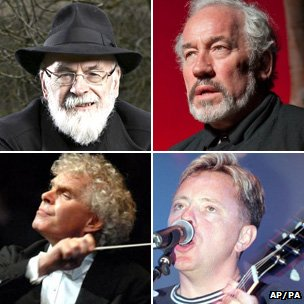 Terry Pratchett, Simon Callow, Bernard Sumner a Syr Simon Rattle
