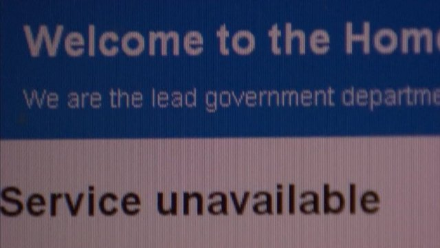 Home Office website during cyber attack