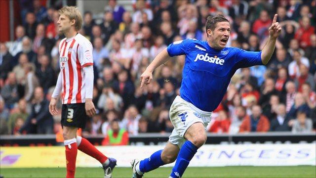 Portsmouth's David Norris celebrates scoring