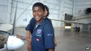 A 2009 photo of Trayvon Martin at an aircraft hanger