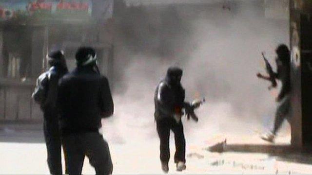 Shooting in the Damascus suburb of Duma.