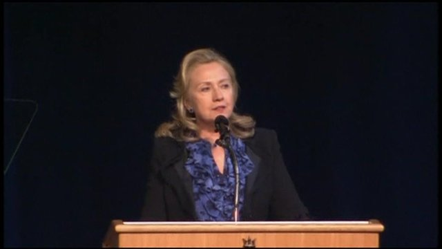 Hillary Clinton speaks to the US Naval Academy.
