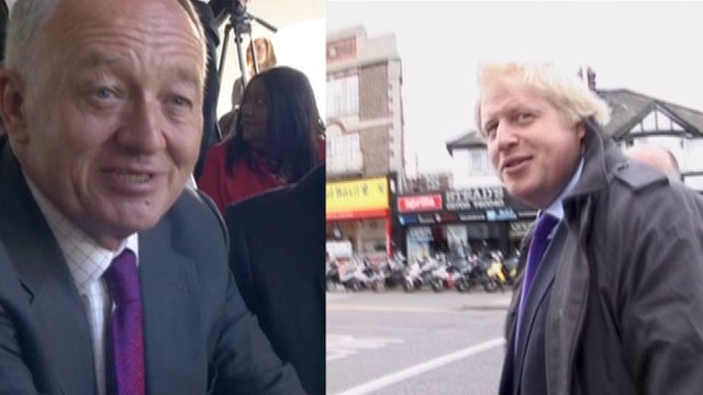 Ken Livingstone and Boris Johnson campaigning