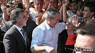 US President George W Bush in Albania