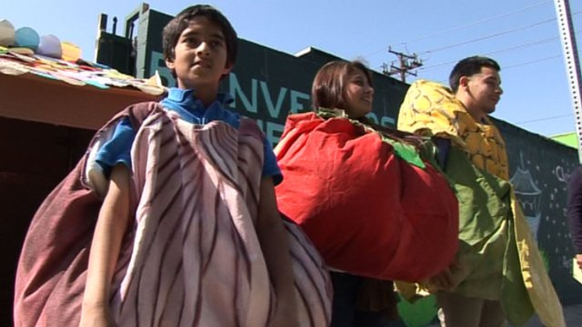 Youngsters wearing vegetables costumes