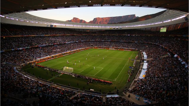 The Cape Town stadium with Table Mountain in the background