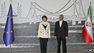 EU foreign policy chief Catherine Ashton and chief Iranian negotiator Saeed Jalil, Istanbul, 14 April