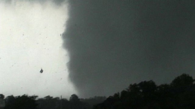 Storm dragging debris into the air