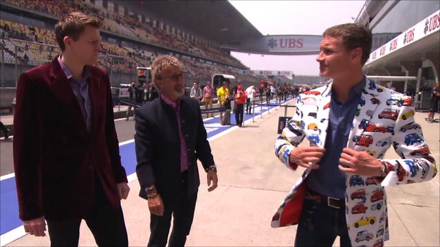 Jake Humphrey, Eddie Jordan and David Coulthard