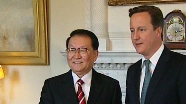 Prime Minister David Cameron and Chinese politburo member Li Changchun