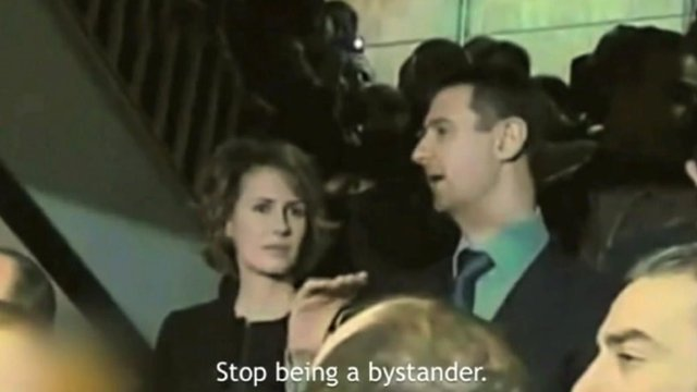 President Assad and his wife Asma depicted in the YouTube video