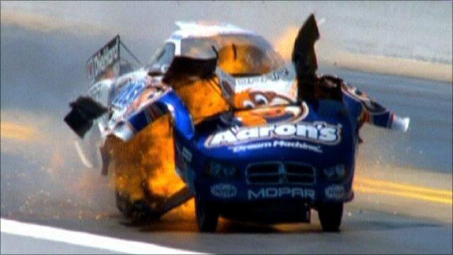 Matt Hagan's funny car explodes