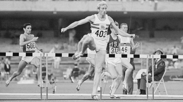 Britain's David Hemery wins 400m hurdles Gold at 1968 Mexico Olympics