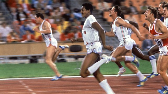 Britain's Alan Wells (left) wins the 100m at the 1980 Moscow Olympics