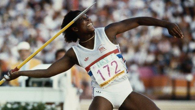 Britain's Tessa Sanderson wins javelin at 1984 Los Angeles Olympics
